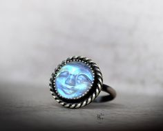 Moonstone Face Sterling Silver Ring  Rainbow by hecatecrea on Etsy
