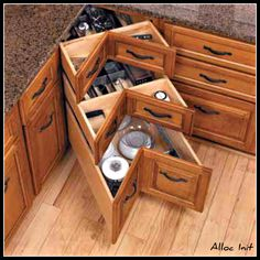 Awesome idea for corner cabinets. No stupid lazy susan!