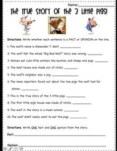 This is a fun worksheet for kids to practice the skill: fact and opinion using the children's story: The True Story of the Three Little Pigs. This …  | followpics.co