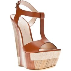 Casadei Panelled Wedge Sandal ($400) ❤ liked on Polyvore