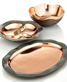 Nambe Metal Serveware, Copper Canyon Collection - Collections - for the home - Macy's -I have the small bowl! Rose Gold Kitchen, Copper Kitchen, Home Decor Accessories, Decorative Accessories, Accessories Online, Serveware, Tableware, Kitchenware, Copper Decor
