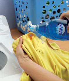 Pre-treat tomato sauce and other food stains with Dawn dish soap in 3 easy DIY steps. 1) Apply Dawn directly on the stain. 2) Rub it in using your fingers. 3) Throw it in the washing machine. That's it. When tomato sauce lands on your clothes, instead of in your mouth, grab Dawn. For more information, go to http://dawn-dish.com/en-us/solutions-tips/beyond-the-sink/laundry-stain-remover?utm_source=pinterest&utm_medium=social&utm_content=LaundryDropSilhouette&utm_campaign=AltUsesJAS