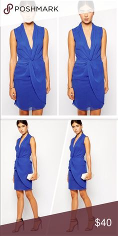 ASOS Tuxedo Wrap Dress Stunning blue wrap tuxedo dress, drapes beautifully and has a slight collar. It is UK size 10, should be US size 6 but fits more like a US 4. ASOS Dresses Midi