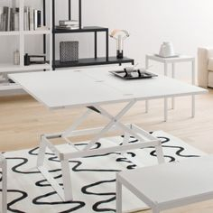 Coffee table transform into dining table.