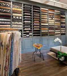 Analisse Taft's first textile line. {via Remodelista} Love the incredibly neat and organized display area.