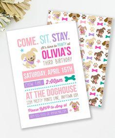 Puppy Birthday Invitation, Puppy Pawty, Girl Birthday Party, Dog Birthday Invite, Girls Party Invite, Dog Party, Printable Invite,