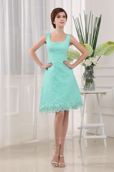 Lovely U Neck Slim A-Line Lace Knee-Length Women Dress With Zipper Back