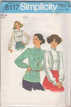 MOMSPatterns Vintage Sewing Patterns - Simplicity 8117 Vintage 70's Sewing Pattern BEAUTIFUL Retro Secretary Modest Lace Trim Blouse Set, 3 Styles Size 10