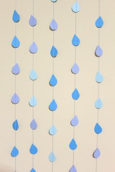 Rain Paper Garland - April Showers, Baby Showers, party decorations. $25.00, via Etsy.