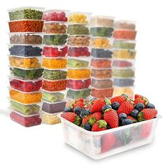 50 Food Containers with leakproof lids - 25 oz | Microwave & Freezer safe | Plastic Meal Storage by Prep Naturals