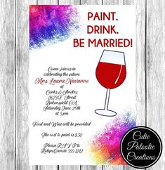 Paint and Sip Bridal Shower Invitations - Bachelorette Party Invitations - Painting and Wine Invitation - Cutie Patootie Creations Rustic Bridal Shower Invitations, Bachelorette Party Invitations, Bridal Shower Rustic, Bridal Shower Decorations, Bachelorette Ideas, Invitation Layout, Invitation Cards, Paint And Sip, Shower Ideas