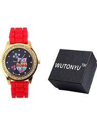 WUTONYU(TM) Women's Colorful Retro Owl Diamond Numbers Silicone Band Quartz Wrist Watch (Red) by WUTONYU $9.99Prime