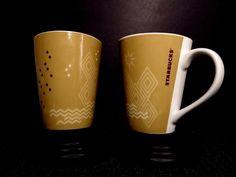"Starbucks 2013 Set of 2 Coffee Tea Mugs 13 oz 4.5"" Diamonds Stoneware China EUC #Starbucks"