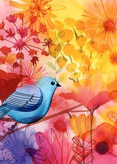 Margaret Berg Art: Blue+Bird+Garden