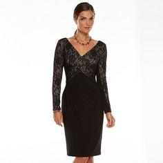 Chaps Crossover Lace-Trim Dress - Women's Kohls $78.75