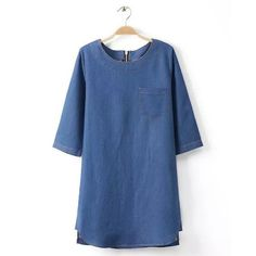 Casual Style Jewel Neck Half Sleeve Solid Color Single Pocket Denim Women's Dress, BLUE, 2XL in Dresses 2014 | DressLily.com