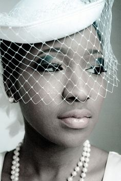 1a2b3145faa 1950′s inspired black bride with pillbox hat and birdcage veil 50s Wedding