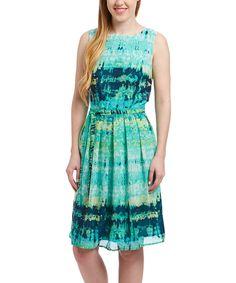 Look at this Rabbit Rabbit Rabbit Designs Mint & Black Ikat Fit & Flare Dress - Women on #zulily today!