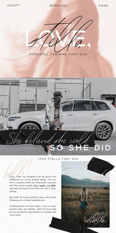Love, Stella is a powerful feminine font duo that includes a signature script and a gorgeous sans – already matched up and ready to be used together for your next design! Lettering, Typography Fonts, Cursive Fonts, Handwritten Fonts, Calligraphy Fonts, Creative Fonts, Cool Fonts, Simple Fonts, Feminine Fonts