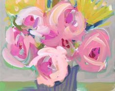 Impressionist Art Square PRINT Art Impressionism Roses Abstract Floral Flower Pink Print Impressionist Art