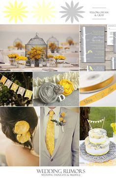 Bride & Groom Live Laugh Love Favor Ribbon, Ivory Bridal Garter with Yellow and Gray RosesCustom Yellow and Gray Wedding Banner, Yellow and Gray Wedding CakeBirdcage with Flowers Centerpiece, Love Bird Wedding Invitations.