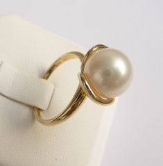 Pearl Engagement Ring pearl ring gold ring promise by havalazar, $440.00