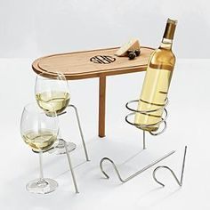 steady stick table + wine holders...possible anniversary gift...with dinner on the beach