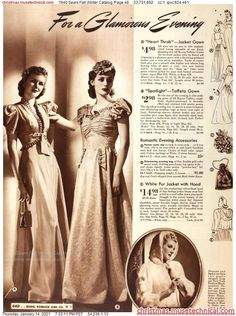 1940s Fashion, Vintage Fashion, Romantic Evening, Christmas Catalogs, Fall Winter, Statue, Bride, Holiday, Wwii