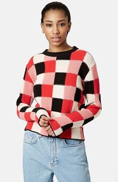 TOPSHOP Boutique Crochet Check Sweater available at #Nordstrom