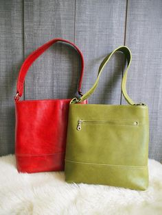 Red and green leather bag.