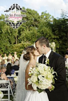 Mr. and Mrs.  Classic summer wedding.   Photography by Andie Freeman Photography www.TheAthensWeddingPhotographer.com Planning and Coordinating by Wildflower Event Services www.WildflowerEventServices.com Venue and Floral:  The Thompson House and Gardens, Athens, GA