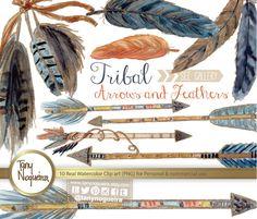Un favorito personal de mi tienda Etsy https://www.etsy.com/mx/listing/195706158/clip-art-plumas-y-flechas-en-acuarela