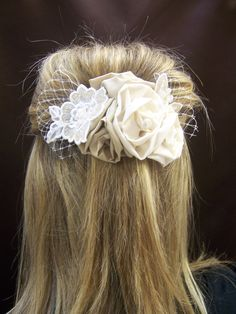 Applique and Rosettes Hair Piece by damechic on Etsy, $64.00