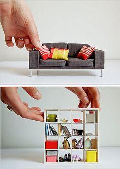 Miniaturas da casa moderna. Uma fofura.