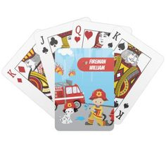 Little Boy's Cartoon Fireman with First Name Playing Cards firefighter activities, firefighter girl, happy birthday firefighter #firefighter #firewife #firegirlfriend, back to school, aesthetic wallpaper, y2k fashion Man Games, Games For Kids, Custom Puzzles, Fireman Hat, Dalmatian Dogs, Unique Birthday Gifts, Young Boys, Monogram Initials, Sports Equipment