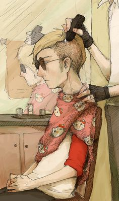 Dave Strider omg how about yes Loving the Hello Kitty towel tho Homestuck Cosplay, Home Stuck, Striders, South Park, Hetalia, Bro, Color Schemes, Hello Kitty, Weird