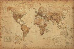 Weltkarte als Poster   Weltkarte im Retro-Look