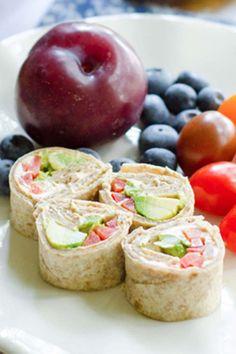Avocado Tortilla Roll Ups Recipe fun lunch idea for school or the office. Roll Ups Recipes, Burger Recipes, Lunch Recipes, Real Food Recipes, Vegan Snacks, Easy Snacks, Box Lunches, School Lunches, Lunch Box