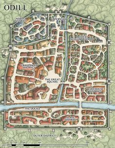 "venatusmaps: ""The city of Odill, created for Dan Hass' adventure modules. """