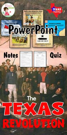The Texas Revolution PowerPoint with fabulous graphics. The Texas Revolution is told in a narrative style. It briefly reviews the causes of the revolution. Also included are a student notes page and a quiz, for a total of over 40 slides. This can be a stand-alone lesson, or check out the 8-part bundle.