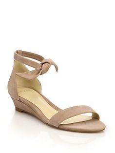 Alexandre Birman - Clarita Suede Ankle-Tie Demi-Wedge Sandals