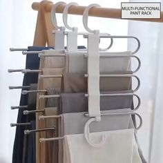 Multi-Functional Pants RacK Space Saving Design: The adjustable storage rack can be hung steadily with two hooks or it can be hung vertically, it can hold up to 5 pairs of pants at one time and it will make your closet tidier. Bedroom Closet Design, Closet Designs, Diy Bedroom, Dream Bedroom, Bedroom Closet Storage, Bedroom Closets, Bedroom Hacks, White Bedroom, Bedroom Ideas
