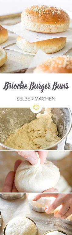 Französische Brioche Burger Buns sind der Bringer auf jeder Burgerparty. Das weiche Gebäck passt hervorragend zu deftigem Rinderhack.