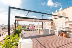 This sublime furnished penthouse for rent with private terrace is available for people willing to settle down in Barcelona. Contact us now for a visit! Real Estate Agency, Luxury Real Estate, Pent House, Renting A House, Property For Sale, Terrace, Barcelona, Bedroom, Outdoor Decor