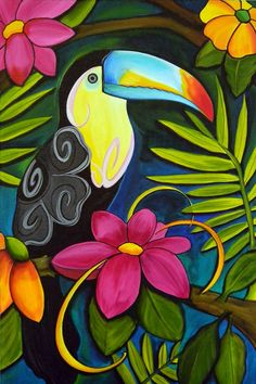 Passaro pinturas en 2019 Peacock art Colorful drawings y Bird art Arte Pop, Tropical Art, Tropical Colors, Bright Colors, Colours, Bird Art, Painting Inspiration, Painting & Drawing, Parrot Painting