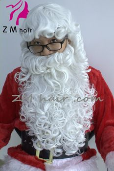 synthetic christmas santa claus wig beard with attached mustache.