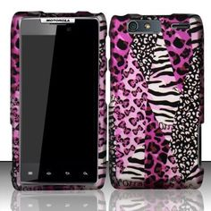 For Motorola DROID RAZR MAXX Rubberized HARD Case Phone Cover Pink Safari - USD $ 10.95