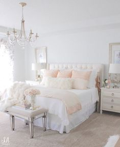 Blush & White girl's bedroom, upholstered blush headboard, gold and white lamps, round mirror - Ivory Lane bedroom decor Feminine Bedroom, Sophisticated Teen Bedroom, Home Decor Bedroom, Kids Bedroom, French Bedroom Decor, Blush Bedroom Decor, Ivory Bedroom, Pink Master Bedroom, Bedroom Furniture