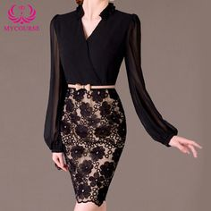 Find More Dresses Information about MYCOURSE 2016 Fashion Women Sheath Dress Long Lantern Sleeve Elegant Bodycon Pencil Dresses Black Casual Office Ladies Clothes,High Quality fashion clothes,China clothes fashion Suppliers, Cheap ladies clothes from MYCOURSE on Aliexpress.com