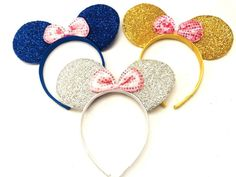 3 pc Minnie Mouse Blue Gold Pink Bow-Mickey Mouse Ears Headband Disney adult/kid by DreamsareMagic on Etsy Minnie Mouse Clubhouse, Minnie Mouse Balloons, Minnie Mouse 1st Birthday, Minnie Mouse Pink, Minnie Mouse Party, Diy Disney Ears, Disney Headbands, Mickey Mouse Ears Headband, Ear Headbands